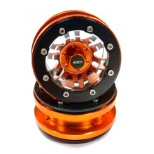 "Billet Beadlock, Orange 6 Spoke Type 6D 1.9"" Wheel Set(1 pair)"