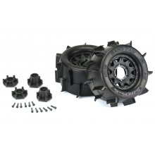 """Sand Paw 2.8"""" Sand Tires Mounted Raid Black 6x30 Removable Hex Wheels (2) for Stampede 2wd"""