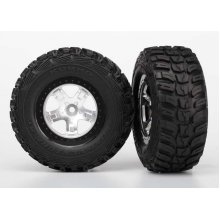 Tires & wheels, assembled, glued  (SCT satin chrome, black beadlock style wheels, Kumho tires, foam inserts) (2) (4WD front/rear, 2WD rear only)